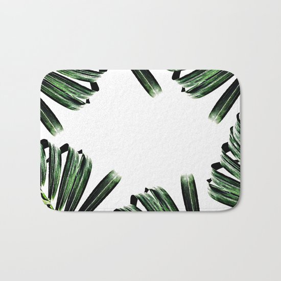 Palm Leaf Watercolor Pattern #society6 #decor #buyart Bath Mat