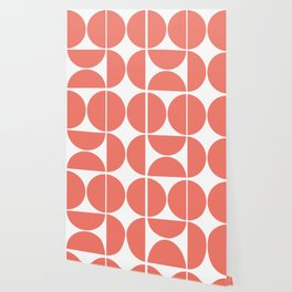 Mid Century Modern Living Coral Square Wallpaper