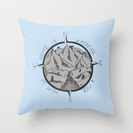 HOME IS WHEREVER IM WITH YOU (blue) Throw Pillow