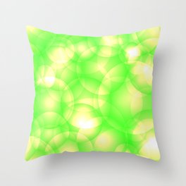 Gentle intersecting green translucent circles in pastel colors with a spring glow. Throw Pillow