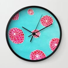 Pink flowers in blue Wall Clock