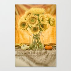 Simple Sunflowers Still Life -- Fall Colors Canvas Print