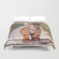 tigers Duvet Covers featuring Tigers soap bubbles by Simone Gatterwe