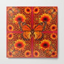Monarch Butterflies Butterflies  Orange Sunflowers Celtic Art  Pattern Metal Print