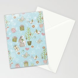 From Bunnies And Christmas-Cute teal X-Mas Pattern Stationery Cards