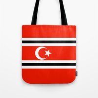indonesia Tote Bags featuring aceh indonesia ethnic flag by tony tudor