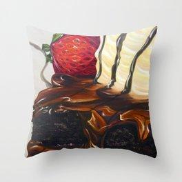 hot fudge brownie Throw Pillow