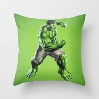 hulk Throw Pillows featuring HULK by Hands in the Sky