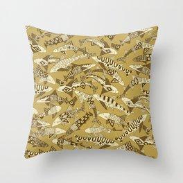 shark party gold Throw Pillow