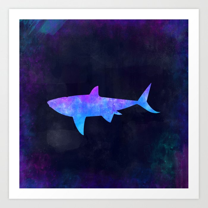 SHARK IN SPACE // Animal Graphic Art // Watercolor Canvas Painting // Modern Minimal Cute Art Print