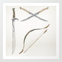 middle earth Art Prints featuring Middle Earth Weapons pack by Kazuma Shimizu