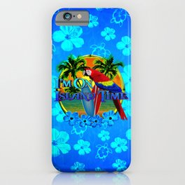 Island Time Surfing Blue Tropical Flowers iPhone Case