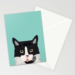 Black and White Cat - cat lady art, cat art, cats, black and white cat Stationery Cards