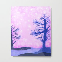 Blue ghost trees on pink speckled sky Metal Print