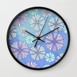sea urchin blue watercolor Wall Clock