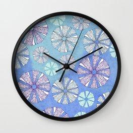 sea urchin blue watercolor Wall Clock
