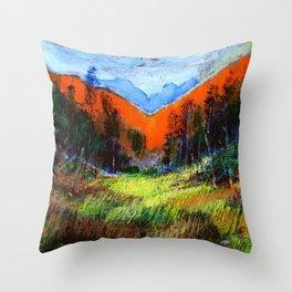 Mountain Meadow Landscape Throw Pillow