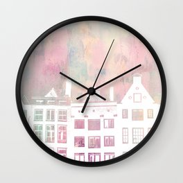 Amsterdam Netherlands Row Houses Wall Clock