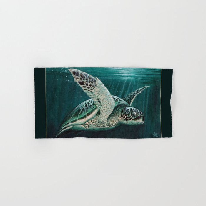 """Moonlit"" by Amber Marine - Sea Turtle, Acrylic Painting, (Copyright 2015) Hand & Bath Towel"