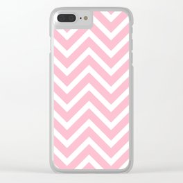 Chevron Stripes : Pink & White Clear iPhone Case