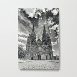 Lichfield Cathedral mono Metal Print