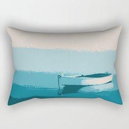 Blue boat blue sea wall art print Rectangular Pillow