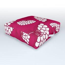 African Floral Motif on Magenta Outdoor Floor Cushion