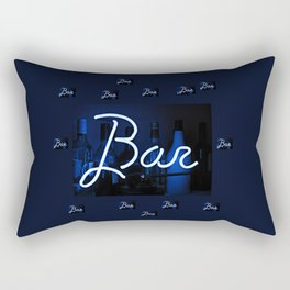 Bar sign blue and neon light Rectangular Pillow