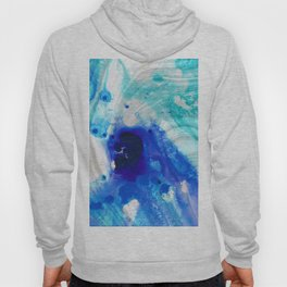 Modern Abstract Art - Blue Marble by Sharon Cummings Hoody