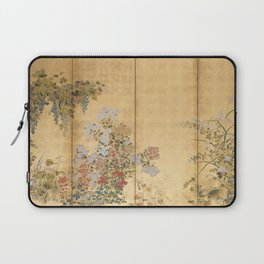 Japanese Edo Period Six-Panel Gold Leaf Screen - Spring and Autumn Flowers Laptop Sleeve