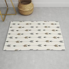 Vertical Arrow Patterns - Cream and Neutral Earth Tones Rug