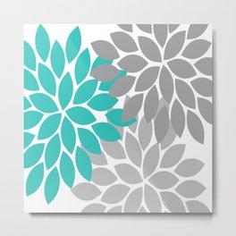 Bold Colorful Turquoise Gray Dahlia Flower Burst Petals Metal Print