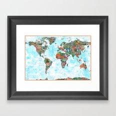 World Stamp Map Framed Art Print