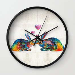 Bunny Rabbit Art - Hopped Up On Love - By Sharon Cummings Wall Clock