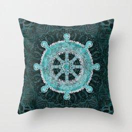 Dharma Wheel - Dharmachakra Silver and turquoise Throw Pillow
