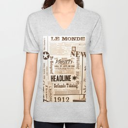 Vintage Newspaper Ads Black and White Typography Unisex V-Neck
