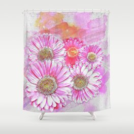 Pink Gerber Painterly Watercolor Shower Curtain