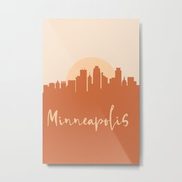 MINNEAPOLIS MINNESOTA CITY SUN SKYLINE EARTH TONES Metal Print