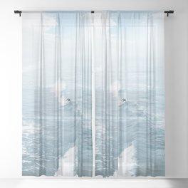 Blue Waves Surfer Sheer Curtain