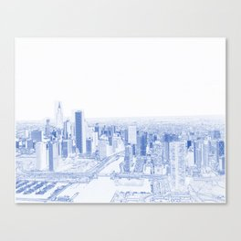 Blueprint drawing of  Aerial view of Chicago, Illinois. The black skyscraper is Willis Tower,  a Chi Canvas Print