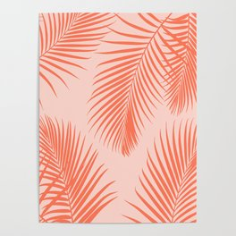 Coral Palms ~ Summer Tropical Pattern Poster