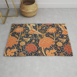 William Morris Orange Cray Floral Art Nouveau Rug