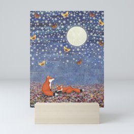 moonlit foxes Mini Art Print