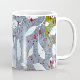 Silver leaf print, white leaves on textured marble Coffee Mug