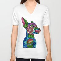 folk V-neck T-shirts featuring Folk Art Puppy by ArtLovePassion