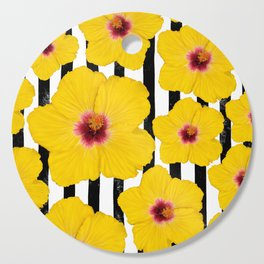 Summer Hibiscus Fun on Black & White Stripes Cutting Board