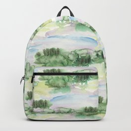Watercolour Abstract Landscape Pattern Backpack