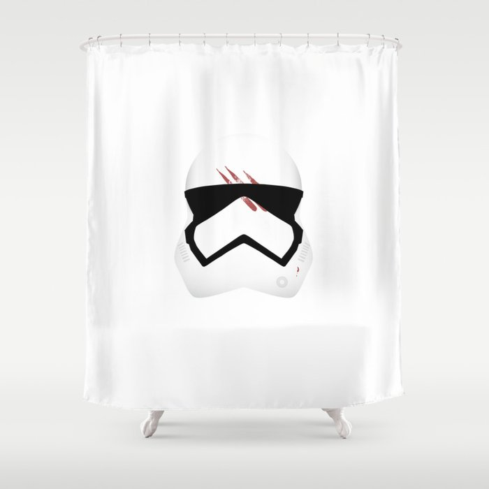 Finn Stormtrooper Helmet Shower Curtain By Lahambra