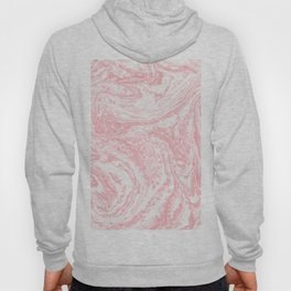 Elegant coral pink white watercolor abstract marble Hoody