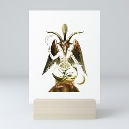 Golden Baphomet Goat with Satanic symbols Mini Art Print